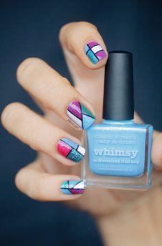 Blue and fuschia geometric nailart  #Nails www.finditforweddings.com