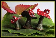 Textured Rustic Red Fairy Mushrooms. by PetitJardins on Etsy