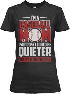 Baseball Mom Quieter Tees!! Black Women's T-Shirt Front