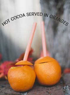 Hot Cocoa Served in Oranges