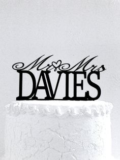 Mr and Mrs Davies Wedding Cake Topper Personalized with Last