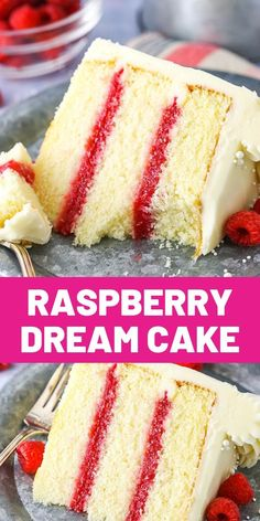 This Raspberry Dream Cake has layers of tender, moist vanilla cake and fresh raspberry filling all covered in cream cheese frosting! It's a wonderfully simple, yet delicious cake! Just Desserts, Delicious Desserts, Yummy Food, Moist Vanilla Cake, Cake Recipes, Dessert Recipes, Dream Cake, Let Them Eat Cake, Cupcake Cakes