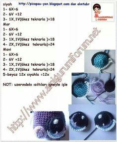 Bildergebnis für how to make crochet eyes for amigurumi Crochet Eyes, Crochet Diy, Crochet Amigurumi, Amigurumi Patterns, Amigurumi Doll, Crochet Dolls, Crochet Crafts, Crochet Stitches, Crochet Patterns