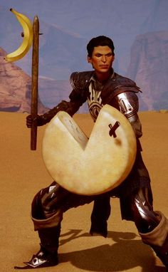 Dragon Age: Inquisition - Cassandra with the 'Wedge of Destiny' and 'Sad Weapon' ...silliness.