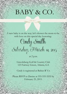 Check out this adorable PRINTABLE Baby and Co. baby shower invitation with silve… Check out this adorable PRINTABLE Baby and Co. baby shower invitation with silver glitter on Etsy. Double click image to view. Printable Baby Shower Invitations, Baby Shower Printables, Bridal Shower Invitations, Free Printables, Tiffany Und Co, Tiffany & Co., Tiffany Party, Tiffany Theme, Bridal Shower Games