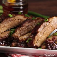 Siu Ribs These sweet and sticky Chinese BBQ ribs are finger-licking good.These sweet and sticky Chinese BBQ ribs are finger-licking good. Pork Rib Recipes, Barbecue Recipes, Meat Recipes, Asian Recipes, Cooking Recipes, Honey Recipes, Smoker Recipes, Recipes Dinner, Food Network Recipes