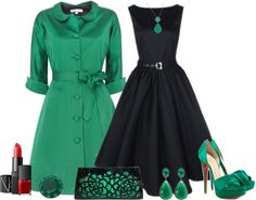 """Vintage green"" by marielir on Polyvore. Beautiful outfit, but again...those shoes look painful to wear!"