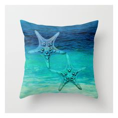 Stars Of The Sea Throw Pillow (267.350 IDR) ❤ liked on Polyvore featuring home, home decor, throw pillows, animal throw pillows, ocean throw pillows, patterned throw pillows, ocean home decor and sea home decor