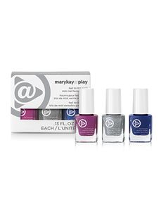 NEW! Limited-Edition† Mary Kay At Play™ Hail to the Nails Mini Nail Lacquer Trio. For the perfect party shades to gift or keep, this triumphant trio nailed it! Mini Nail Lacquer Trio shades include Pink Hottie, Silver Sparkle and Inky Blue. Packaged in a ribboned box that's ideal for gift-giving. NOTE: In electronic media, true colors may vary.