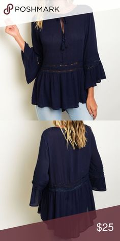 """Navy Boho Top This is such a beautiful trendy top and a favorite of mine right now! Figure-flattering, Navy blue, 3/4 bell sleeves. 100% Rayon Bust: 36"""". Length 26"""". Only a few left so get it before they're gone! Boutique Tops Blouses"""