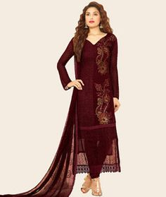 Buy Maroon Chiffon Straight Cut Suit 72321 online at lowest price from huge collection of salwar kameez at Indianclothstore.com.