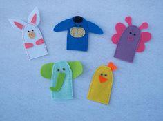 Keçe hayvanlı parmak kukla seti - Felt finger puppets
