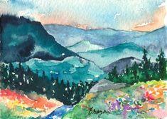 Watercolor mountain trees flowers creek landscape