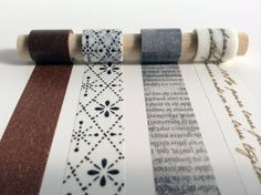 Word By Word Washi Tape Sample Set  - neutral tones and text lend a classic and understated tone to your planner