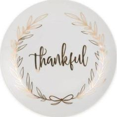 "Everyday White By Fitz And Floyd ""thankful"" Coupe Salad Plate In White"