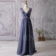 2016 Steal Blue Bridesmaid Dress Long, Ruffle V Neck Wedding Dress, Womens Formal Dress, Criss Cross Straps Prom Dress Floor Length (L012)