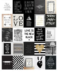 Black & White Quote Planner Stickers by DigiDiDigitalDesigns