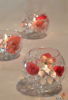 """Fresh centerpiece kit comes with pink tone flowers or crystal band and silver glitter balls with water beads. Bubble bowl is 4.5"""". One is perfect as a cocktail table centerpiece, group them together on larger tables or line them up on your long table.  Get more centerpiece ideas at Surroundings.com"""
