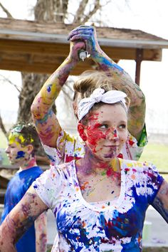 Paint War in a field (Wide Game - use watered down water based paints, put in water guns, tape paper to girls for 'lives' and once all paper has paint on you are dead' - Safe paintballing!)