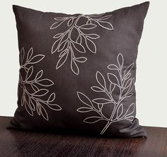"Beige Leaves Throw Pillow Cover - 18"" x 18"" Linen Decorative Pillow Cover - Dark Brown"