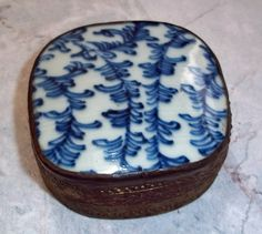 Vintage Chinese Tin Box with Antique Porcelain Top (J)