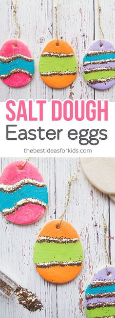 These Salt Dough Easter ornament eggs are perfect for hanging on an Easter tree! Kids will love helping to make these for Easter decorations.