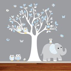 Nursery decal chevron pattern vinyl wall decal nursery tree with elephant owls birds and butterflies. { Decal Kit Includes } *tree with leaves *6 Birds *6 Owls *4 Butterflies *elephant * step by step application instruction { Size } tree 74h x 55w { Choose Color } * choose your colors from the color chart Please leave message with your color choices in the message box when checking out. The default colors will be sent if colors are not specified. { What You Need To Know } * Wall A...