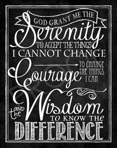 Gott, gib mir die Gelassenheit, Dinge hinzunehmen, die ich nicht ändern kann, den Mut, Dinge zu ändern, die ich ändern kann, und die Weisheit, das eine vom anderen zu unterscheiden.
