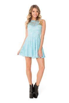 Sky Blue Lace Skater Dress