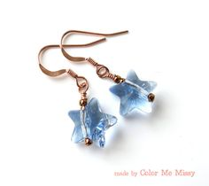 Crystal Star Earrings - Rose Gold Filled Ear Wires, Swarovski Aquamarine Crystal Star Drop Earrings, sky, blue, lucky star, quirky, handmade, by ColorMeMissy, $15.00
