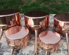 Quality Vintage French Copper and Tin LIned Chauffe Aliments, Food Warmer, Chafing Dish, Solid Copper Dish with Burner, Heavy Duty Hotel Quality  Set of all copper kitchen Food Server/warmer totally fit for purpose, robust, heavy (wont fall over) and well made. They have a super patina and an exquisite balance. There are some signs of wear and cleaning but it is in very good antique condition and fully working.  It is made up of a lovely tinned copper pan, a burner, a lid, A stand for it...