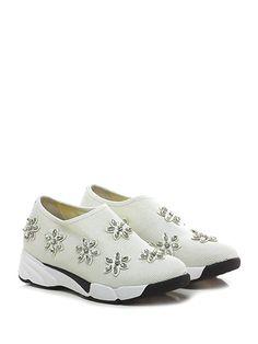 Uma parker - Sneakers - Donna - Sneaker in tessuto stretch effetto laminato con applicazioni su tomaia e suola in gomma. Tacco 45, platform 25 con battuta 20. - WHITE - € 110.00