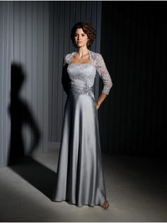 Sheath Strapless Appliques Lace Elastic Satin Long Silver Mother Dress