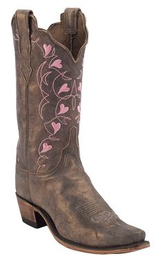 Lucchese 1883 Women's Fawn Metallic Brown w/ Pink Embroidered Hearts Top Snip Toe Western Boots