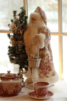 Red & white toile Father Christmas: would look perfect in my guest room! Please can I have, Santa?
