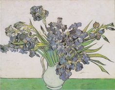 Vase with Violet Irises Against a Pink Background by Vincent van Gogh by Robert Partridge