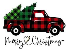 Merry Christmas vintage plaid truck Sublimation Transfer, Ready to Press Christmas Red Truck, Plaid Christmas, Christmas Svg, Christmas Images, Christmas Shirts, Christmas Decorations, Christmas Ornaments, Merry Christmas Printable, Christmas Decals