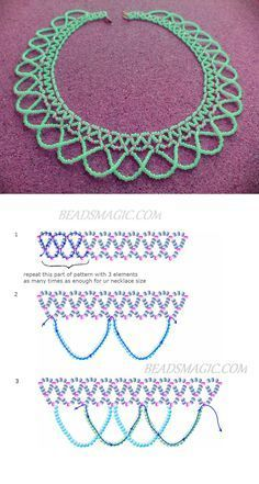 Free pattern for beaded necklace Sheila - Sale! Shot at Stylizio for womens and mens designer handbags luxury sunglasses watches jewelry purses wallets clothes underwear Seed Bead Tutorials, Beading Tutorials, Beading Ideas, Bead Jewellery, Seed Bead Jewelry, Seed Beads, Beading Jewelry, Fuse Beads, Bead Crafts