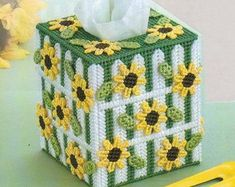 Mailbox Abloom Tissue Cover for you to make - Plastic Canvas Pattern Leaflet Approx. finished size: 5 w x 5 h x 11 d (fits a 4 w x 2 h x d tissue box). Plastic Canvas Tissue Boxes, Plastic Canvas Crafts, Free Plastic Canvas Patterns, Plastic Canvas Letters, Tissue Box Covers, Needlepoint Patterns, Cross Stitch Patterns, Sunflower Quilts, Plastic Canvas Christmas