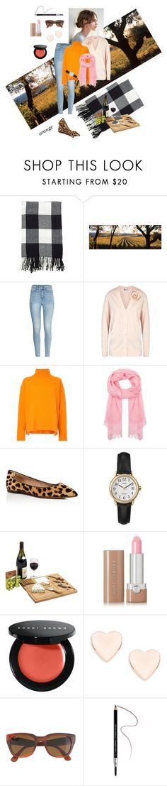 """""""Top: Orange, Pink, Black"""" by henleysc ❤ liked on Polyvore featuring Saro Lifestyle, H&M, Lanvin, Le Ciel Bleu, Johnstons of Elgin, Tory Burch, Timex, Picnic at Ascot, Marc Jacobs and Bobbi Brown Cosmetics"""