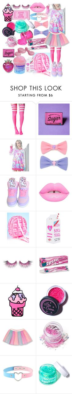 """A.J Wednesday"" by drhumanguy ❤ liked on Polyvore featuring Japan L.A., Lime Crime, Valfré, MAKE UP FOR EVER, In Your Dreams, Dollhouse, cute, Pink and harajuku"