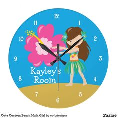 Cute Custom Beach House Wall Clock featuring a pretty hula dancer girl in front of a beautiful pink hibiscus flower in front of blue sky and sand. #beachhousedecor #beachhouse #hulagirl #huladancer
