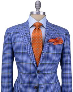 Kiton Blue Houndstooth Windowpane Sportcoat