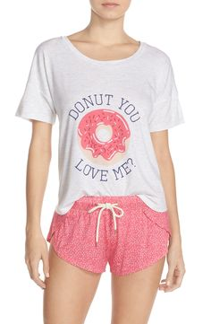 "Crushing on this adorable sleep set with pink shorts and a comfy tee to match. The quote ""Donut you love me?"" adds the perfect amount of charm and playfulness. Pajamas For Teens, Pajamas Women, Satin Pyjama Set, Pajama Set, Pajama Party, Pajama Outfits, Cute Outfits, Pink Shorts, Feminine Fashion"