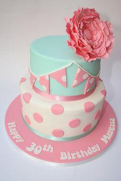 Dotty bunting & Peony rose - by CakesByBronagh @ CakesDecor.com - cake decorating website