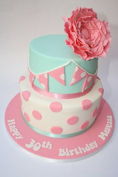 Dotty bunting & Peony rose - by CakesByBronagh @ CakesDecor.com - cake decorating website