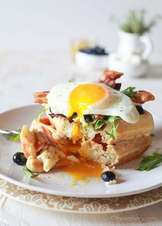 The Noshery | Mother's Day Herb and Goat Cheese Waffles | http://thenoshery.com