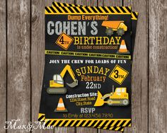 Construction Birthday Party Invitation, Construction Birthday, Dump Everything Invitation, Thank You Note, Join the Crew, Digital by MaxandMaeInvites on Etsy https://www.etsy.com/listing/222256437/construction-birthday-party-invitation