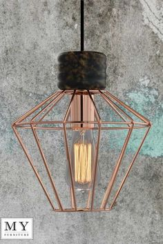 Hugo - Vintage Retro Industrial Copper Cage Pendant Light Edison Bulb included in Home, Furniture & DIY, Lighting, Ceiling Lights & Chandeliers | eBay