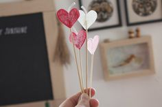 DIY beeswax heart candles on sticks.